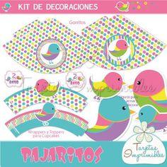 Kit imprimible de decoraciones para nena con pajaritos, gorritos, carteles, tarjetas, etiquetas, y mucho más...