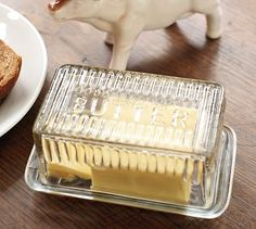Pressed Glass Lidded Butter Dish #potterybarn