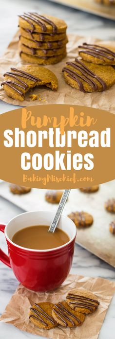 These Pumpkin Shortbread Cookies made with browned butter and pumpkin puree are…