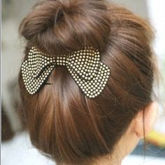 High bun bow Brand new and great quality add some fun to your high bun. Gold colored studs on black Accessories Hair Accessories