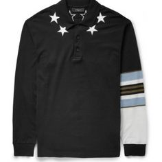 Givenchy – Spring 2014 Star-Trim Polo Shirt- http://getmybuzzup.com/wp-content/uploads/2014/03/260894-thumb.jpg- http://getmybuzzup.com/givenchy-spring-2014-star-trim-polo-shirt/- By Renz Ofiaza Riccardo Tisci's implementation of star motifs continues for Spring 2014 as we highlight this polo shirt from Givenchy. Comprised of cotton, the black cotton-pique long-sleeved silhouette is detailed with contrasting white star appliqué encompassing the collar, while printed