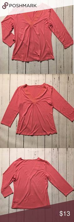Coral Coldwater Creek Top Coral/ Salmon colored, three quarter sleeve, v-neck top, with chiffon trim around neckline! EUC! No wash wear or pilling! Coldwater Creek Tops Blouses