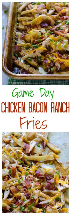 Chicken Bacon Ranch Fries. Oven baked fries smothered in a creamy ranch sauce, bacon, and cheddar cheese. Mind blowing! Perfect for football parties and any game day!