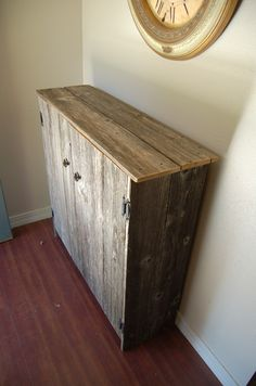 Recycled Wood Cabinet - build this to size to fit under the half wall at the front door for shoe storage?