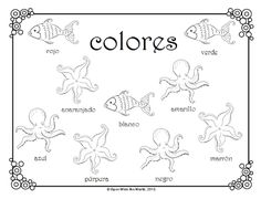 Colors in 5 languages! This multilingual set includes coloring sheets in Spanish, French, German, Japanese, and English. Coloring Pages For Boys, Alphabet Coloring Pages, Free Coloring Pages, Printable Coloring Pages, Coloring Sheets, Coloring Books, Teaching French, Teaching Spanish, Blue Nails