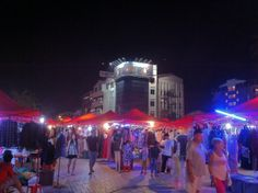 One of the night markets in Vientiane, Laos by the Mekong River.