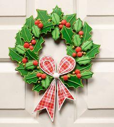 decoración de galletas, Julia M Usher, guirnalda de navidad galleta