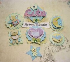 Baby Boy Paper Embellishments, Scrapbook Embellishments, Mini Album Embellishments, Card Embellishments for Baby Girls