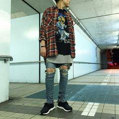- ̗̀ smell the roses ̖́- Urban Fashion, High Fashion, Mens Fashion, Dope Outfits, Fashion Outfits, Adidas High Tops, Outfit Grid, Urban Street Style, Streetwear Fashion