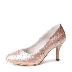 női cipő hegyes orr tűsarkú szatén szivattyúk strasszos esküvői cipő több színben – EUR € 47.27
