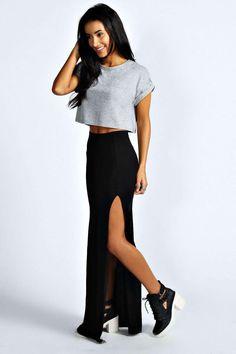 Soraya Thigh High Split Maxi Skirt at boohoo.com
