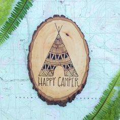Happy Camper // Wood Burned Sign by KaiwanTreasures on Etsy