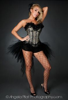 Custom size Leopard Lace and Tulle Burlesque corset dress. $235.00, via Etsy.