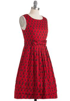 Saw You Standing Stare Dress, #ModCloth  I own this dress, if you are interested in buying it, don't hesitate because it is well made and not flimsy, and it has pockets and flattering pleats and nice details like the cute bow at the waist.