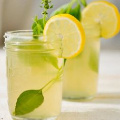 Ginger lemonade! Cut slices ginger, add mint , lemon, ice, soda water & dash dry ginger ale. Serve with straws