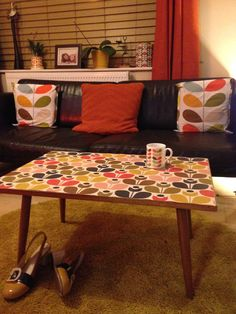 My new table, given an Orla Kiely makeover by me!