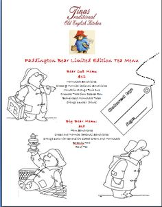 Our Limited Edition Paddington Bear Tea Menu is for adventurous young cubs and big bears alike. Featuring marmalade sandwiches, chocolate treats from deepest Peru, cheese and marmite (optional) sandwiches, orange squash (drink), tea and more. Eat, color your menu and practice your Paddington stare! Availabe 11am 1/16/15 - 4pm 1/18/15 while stocks last