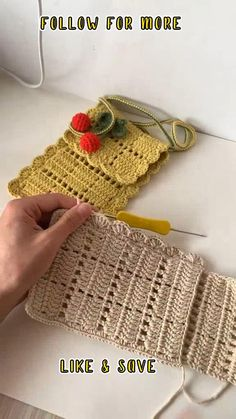 Crochet Bag Tutorials, Easy Crochet Stitches, Crochet Instructions, Crochet Chart, Crochet Videos, Crochet Projects, Bead Embroidery Patterns, Beaded Embroidery, Knitting Patterns