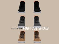 captainc34:  Created for: The Sims 4 by theyoungenzo   Hello huys!Another creation for all of you wonderful people!This set has 3 really cool high cut shoes for your male sims! :) download
