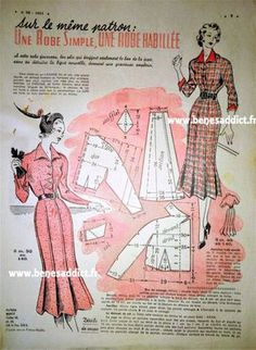GRATUIT! 34 patrons Couture et Tricot Vintage 1950! ⋆ Béné's Addict Crochet Vintage, Vintage Diy, Mode Vintage, Barbie Patterns, Vintage Sewing Patterns, Journal Vintage, Barbie Vintage, Patron Vintage, Vintage Mannequin