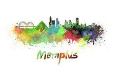 Memphis skyline in watercolor by Pablo Romero Memphis Skyline, Memphis Art, Memphis Tennessee, Painting Prints, Canvas Prints, Art Prints, Watercolor Painting, Paintings, Old Paper Background