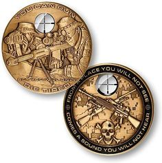 THIS ITEM CAN ONLY BE SHIPPED WITHIN THE U.S. This coin is a tribute to snipers engaged with the military or with law enforcement. Minted in a proprietary brass alloy, this coin is struck through a sp