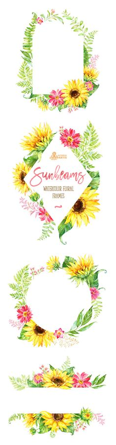 Etsy の Sunbeams Frames. Watercolor floral clipart by OctopusArtis