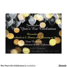 New Year's Eve Celebration Card Spa Weekend, New Year's Eve Celebrations, Retirement Parties, Create Your Own Invitations, Zazzle Invitations, New Years Eve, White Envelopes, Rsvp, Cards