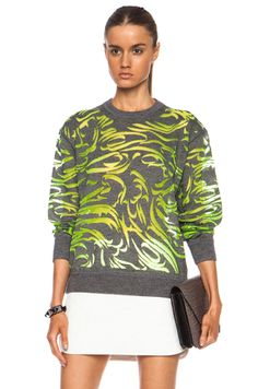 Alexander Wang|Burnout Paisley Wool-Blend Pullover in Citrine