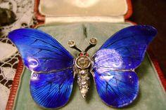 Stunning Large Victorian Silver Blue Enamel Paste Butterfly Brooch 6 cm AF | eBay