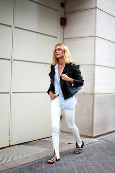 blonde long bob, black jacket, blue button down shirt, white jeans & Adidas slide sandals #style #fashion #blogger
