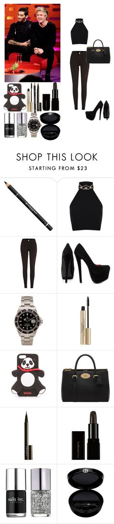 """""""Interview w/ Ziall"""" by rosemie ❤ liked on Polyvore featuring Givenchy, Miss Selfridge, River Island, Shoe Republic LA, Rolex, Elizabeth Arden, Moschino, Mulberry, LORAC and Nails Inc."""
