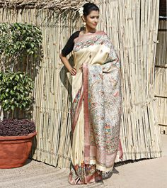 Beige Pashmina Silk Saree With Madhubani