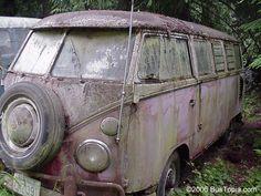 VW 23 Window Deluxe Bus Sitting in Old Volkswagen Junk Yard