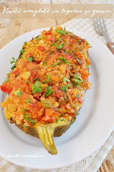 Vinete umplute cu legume şi quinoa Romanian Food, Quinoa, Risotto, Breakfast, Ethnic Recipes, Morning Coffee