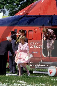 May 31, 1985: Diana Princess of Wales has a gust of wind blow her skirt up, as she gets off her Queens Flight helicopter, at the Poolemead centre for the Deaf in Twerton on Avon, Bath, Avon. (Photo by David Levenson/Getty Images)