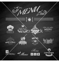 Menu labels and logos for restaurant vector - by Liubou on VectorStock®