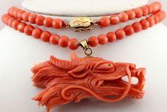 Antique C 1920 Deco 14k 18k Gold Chinese Dragon 5 mm Angelskin Coral Necklace! #StrandString