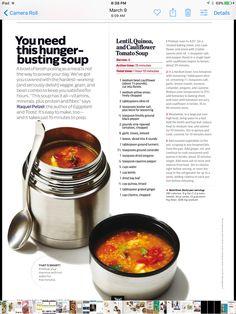 Lentil quinoa cauliflower soup