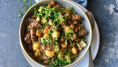 "- Brun Lapskaus - Brown ""Lapskaus"" oldfashioned stew-vegetable pot, for leftover meat from the ""sunday-dinner""- wonderful served with crispy ""Flatbreads"" with butter and a cold beer Cooking Recipes, Healthy Recipes, Kung Pao Chicken, Stew, Food To Make, Main Dishes, Food And Drink, Nutrition, Meat"