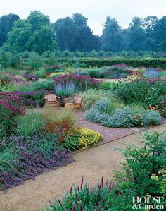 In the perennial meadow of Scampston Hall, in Yorkshire, England, Piet Oudolf planted Perovskia abrotanoides 'Little Spire,' coreopsis, Monarda 'Scorpion,' and Nepeta 'Walker's Low.' The low chairs were chosen to give the feeling of sitting in and among the plants.