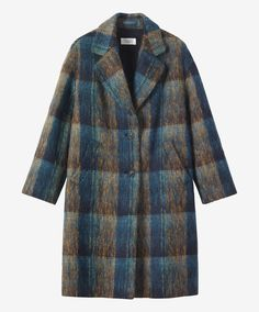 BRUSHED WOOL MOHAIR COAT | Hazy, plaid coat in a very soft, Scottish-woven, brushed mohair/wool blend.