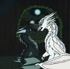 Winter and Moon from Wings of Fire. It should have been Quibli in Winter's place there TBH Wings Of Fire Dragons, Cool Dragons, Dragon Moon, Dragon Armor, Dragon Dreaming, Fire Fans, Dragon Cakes, Fire Book, Beautiful Dragon