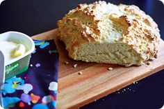 Just in time for St. Patrick's Day, the easiest, simplest recipe for Irish Soda Bread.  Even the kids can whip this up - a nice holiday activity for them.  Only 4 ingredients, no kneading or yeast proofing, bake for 25 minutes, then eat!  TIP: My Irish Mama taught us to make this, and while it baked, we added green food coloring to apple jelly for a fun St. Pat's treat.  Oh, how I miss my mother this time of year!