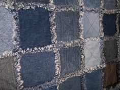 pictures of blue jean rag quilts | Denim Jean Rag Quilt, made from denim jeans about to be tossed