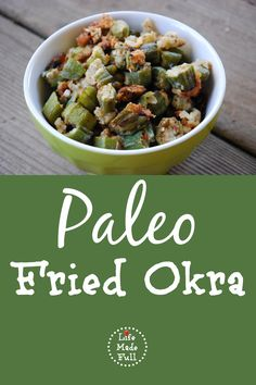 paleo fried okra--so good! Make sure the almond flour is dry  and fine, instead of the chunky almond meal I used. Still great though!