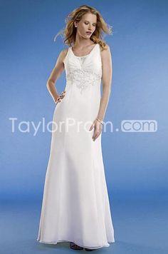 Charming Sheath/Column Scoop Sweep/Brush train Embroidery Wedding Dress