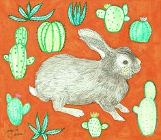 rabbit and succulents A Ra, Rooster, Succulents, Rabbit, Angel, Illustration, Animals, Illustrations, Bunny