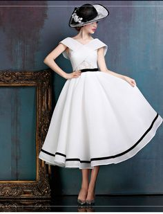 Black and White Midi Vintage Ball Gown