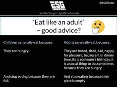 Eating like an adult V eating like a child -  A few people have commented recently that when it comes to basic nutrition principals people just need to start eating like an adult. -  In terms of food choices they may have a point.. we generally see kids food as snacks where as adults are more inclined to cook a proper meal. Some even use ingredients and an oven rather than the microwave. -  It is no secret that I like to play devils advocate.. and I do actually think there is a strong…